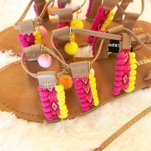 2/$30 EXPRESS | Festival lace up Pom-poms Sandals